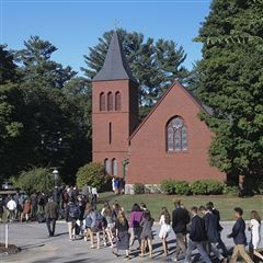 Students entering the Chapel of the Holy Cross