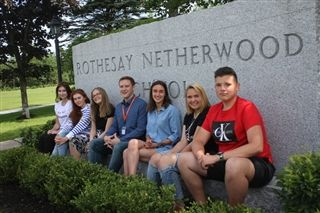 From left: Anastasiia Bosyakova, Margaryta Tsarova, Inona Preoteas, camp director Tom Cashmore, Sixtine Dietsch, Daniela Krizanovska, Kiril Bosyakov or Academic Camp Canada. The three-week summer camp is being offered at Rothesay Netherwood School this summer to children from ages 11 to 17. Photo: Noushin Ziafati/Telegrahp-Journal