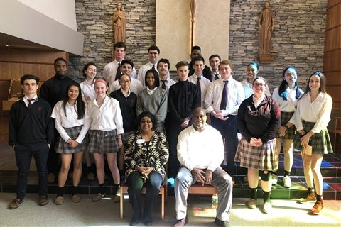 DeBorah White and Kelvin Lassiter from the National Coalition for the Homeless shared their powerful experiences with the junior class.