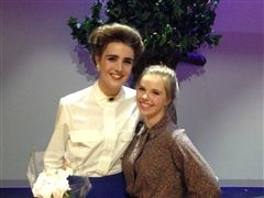"CDA Actress Hannah-Beth Kline (left) after ""Our Town"" performance."