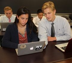 Abby Gray '17 and James Nehlig '17 work collaboratively writing computer code in Programming 1.