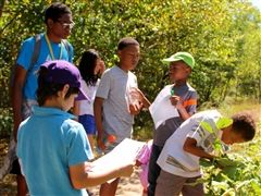 Mass Audubon Boston Nature Center Camp counselor Noah Piou '16 (who will attend Dartmouth College in the fall) leads a group of Boston children on a nature walk in Roxbury Latin's 50-acre forest.