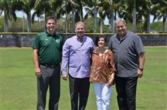 WCS Athletic Director Gene Baker, Chuck and Alda Watlington, and WCS Superintendent Pete Cabrera