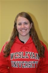 Colleen wearing her Wesleyan University sweater.