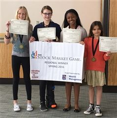First-place winners of the elementary division of the Stock Market Game.