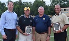 2016 Jerry Beitman Awards From l to r: Marshall Hyzdu, Moeller High School President, Craig Lindsey, Moeller's Head Athletic Trainer; Jerry Beitman '76, Moeller's Director of Security and Rich Wallace, Amberley Village Police and Fire Chief