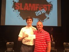 This year's SlamFest winner, Brendan Rush (left), with Head of English, Mr. Cowell