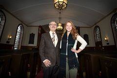 The Rev. Bruce Roffey welcomed Kirsten Mosey to Chapel where she recalled her time spent volunteering at a refugee camp.