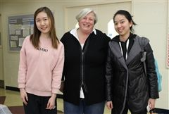 Green Action Committee Co-Heads A. Lao '20 and J. Yu '20 with GAC Advisor Mary Frances Hanover