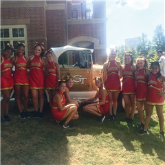 Spartanettes with the Ramblin' Wreck at Georgia Tech