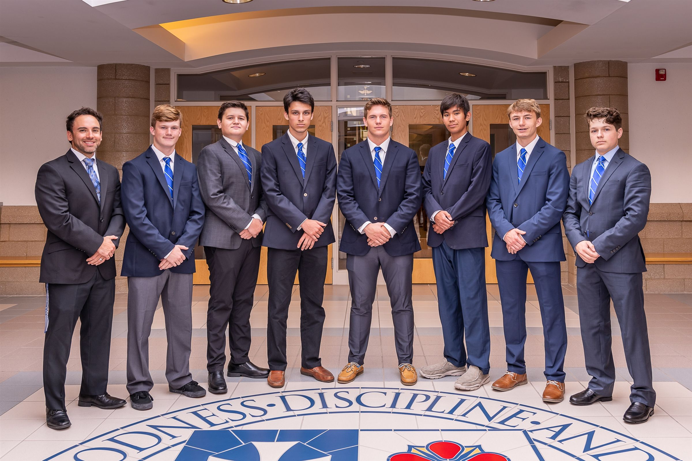 (L-R) Mr. Mike Mach, Moderator; Michael Sorrentino, Co-Vice President; Diego Guerra, Co-Secretary; Gavin Filip, Co-Treasurer; Sean Field, Co-President; Cole Nogawa, Co-Treasurer; Conner Bell, Co-Vice President; David Mondrusov, Co-Secretary (Not Pictured: Dhruv Kumar, Co-President)