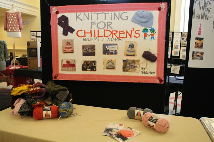 Grade 10 MYP student knits for Children's Healthcare of Atlanta.