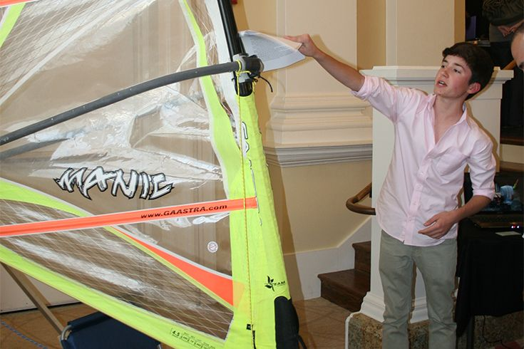 Grade 10 MYP student showcases his self-built windsurfing sail.