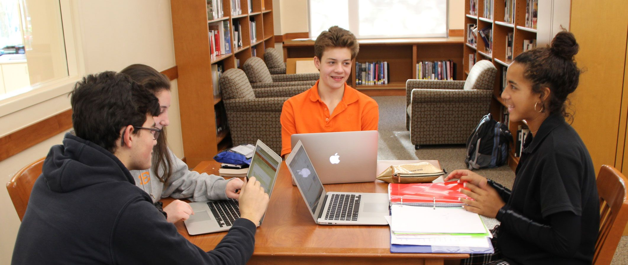 high school students in the library