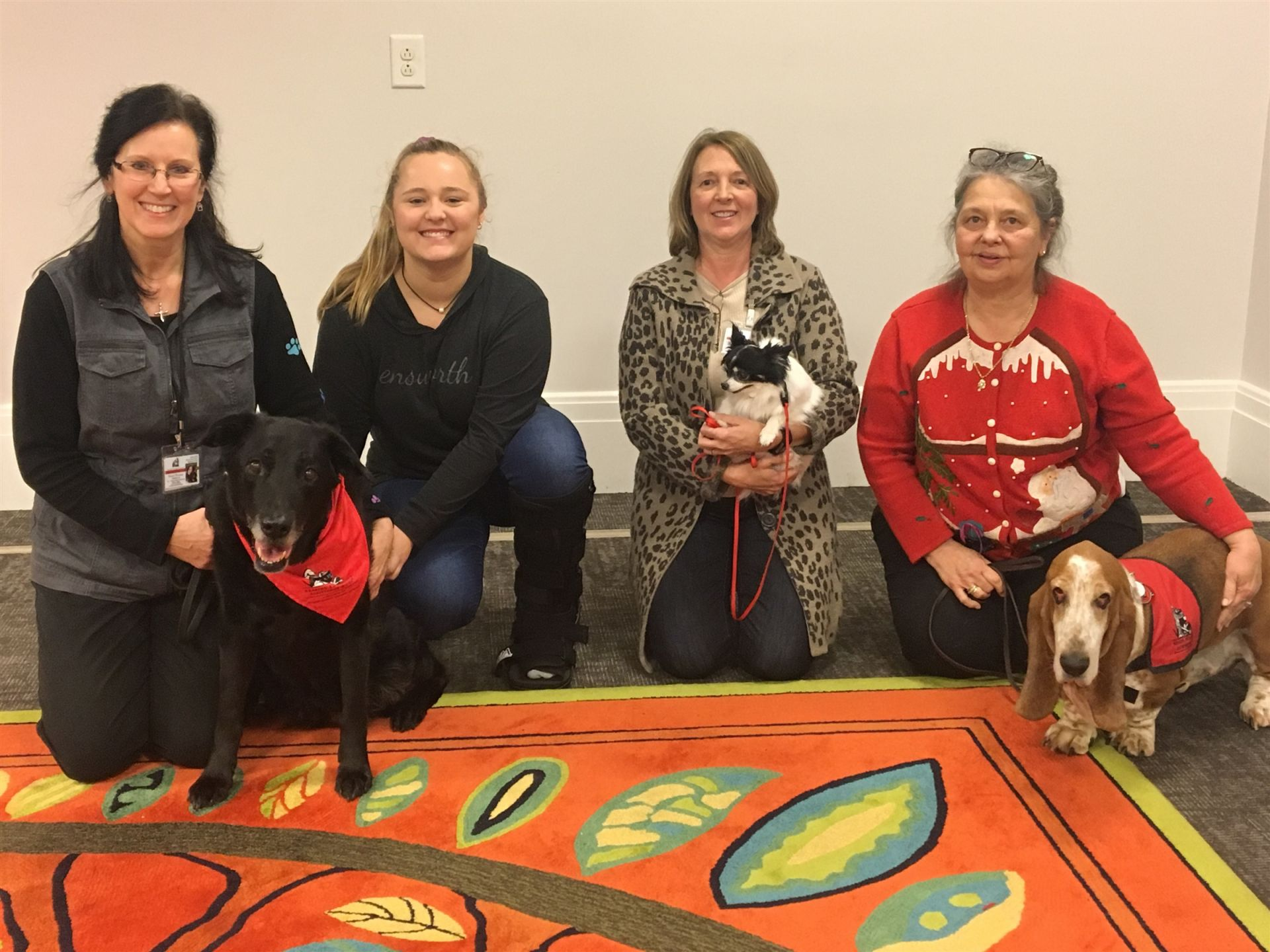 From left to right: Bella the Labrador mix and Debbie Wilburn, Rose Civitts, Suzanne Jones and Reuben the long-haired Chihuahua, and Debbie Martin and Brother the Basset Hound.