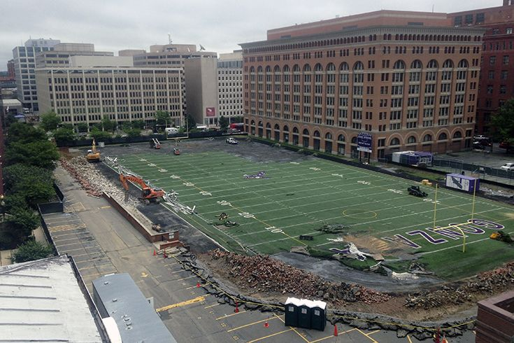 Taken in June 2014, this photo shows the beginning of construction for the Eye Street Renewal Project.
