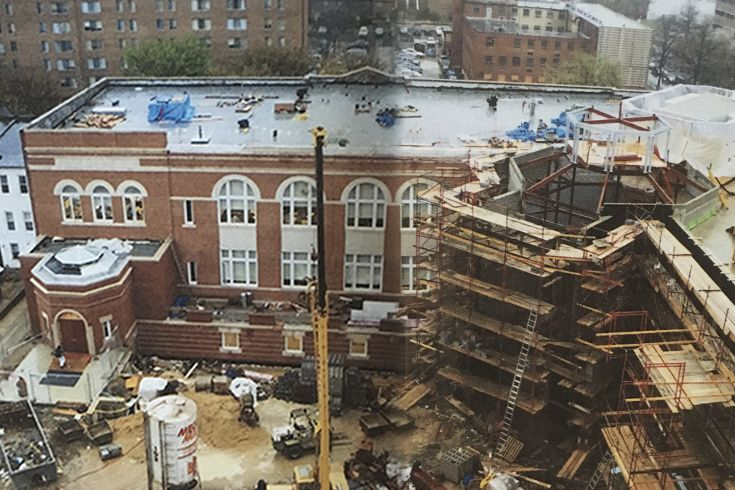 Taken in 2000, this photo shows the renovation of what's now Reusch and Cantwell Halls.