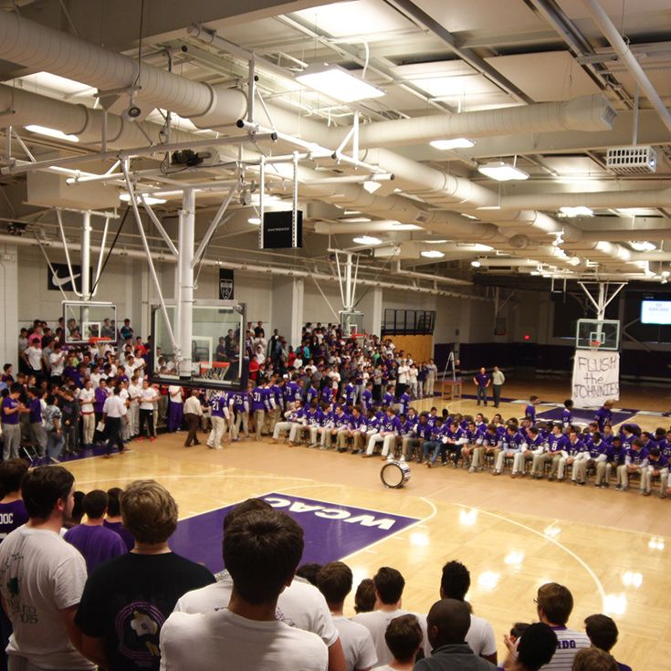 The Booster Club plans school-wide pep rallies before big games.