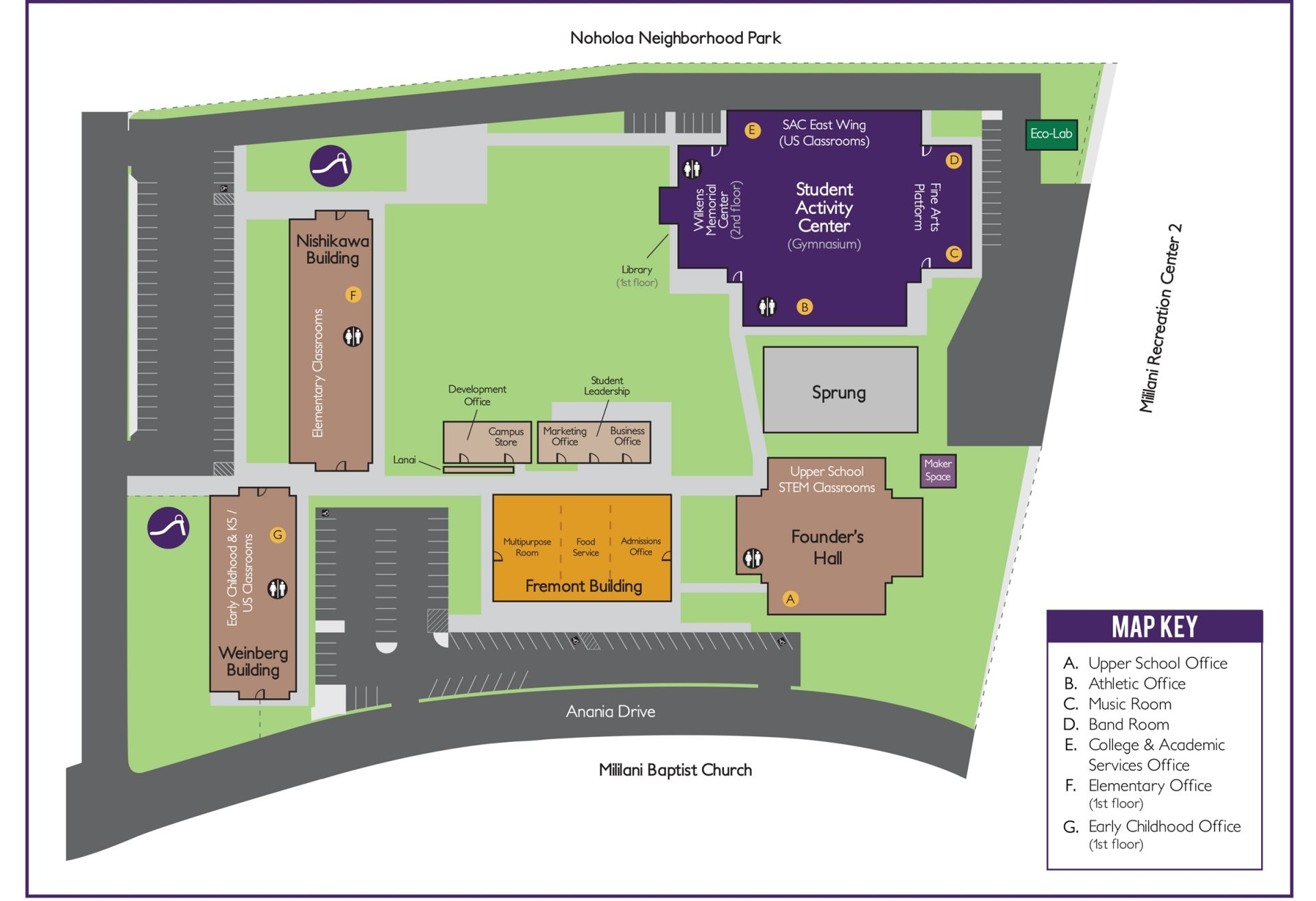 Honolulu Community College Campus Map.Campus Map Directions Hanalani Schools