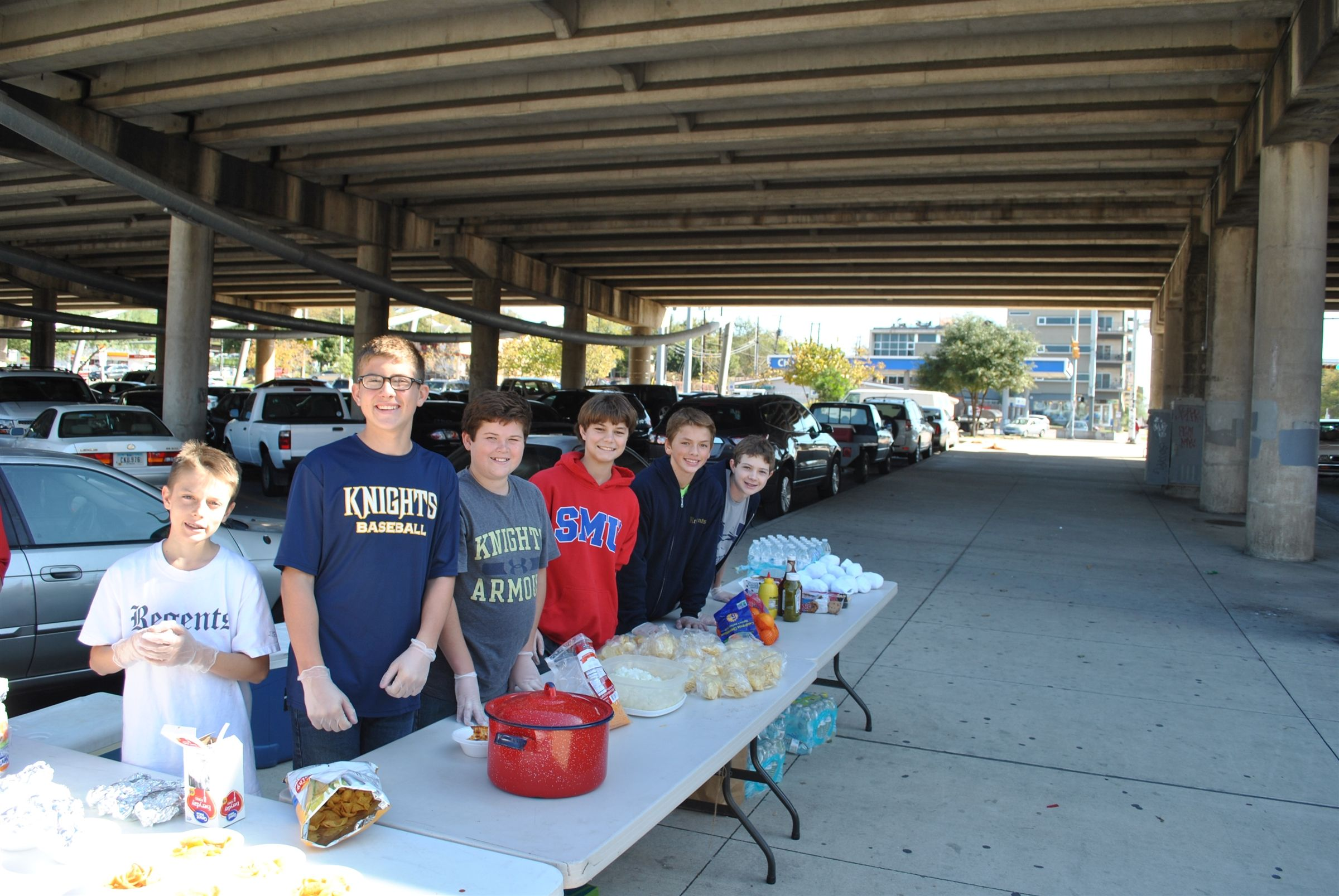 Logic students providing a meal for friends who are homeless.