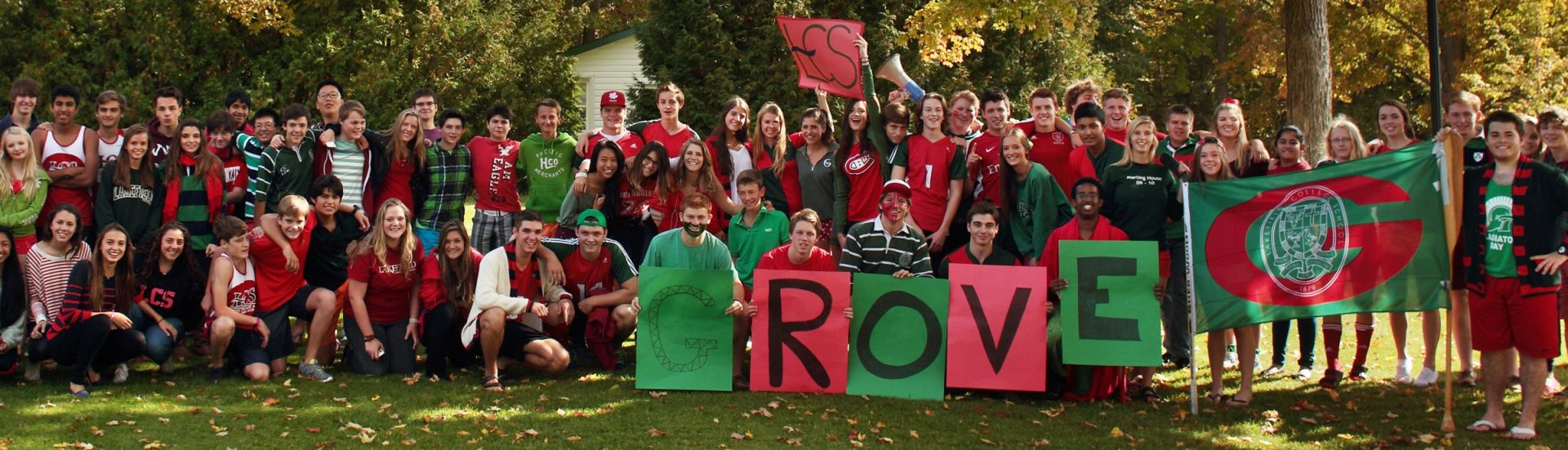 dressed in red and green,have fun at an all-school pep rally,LCS students