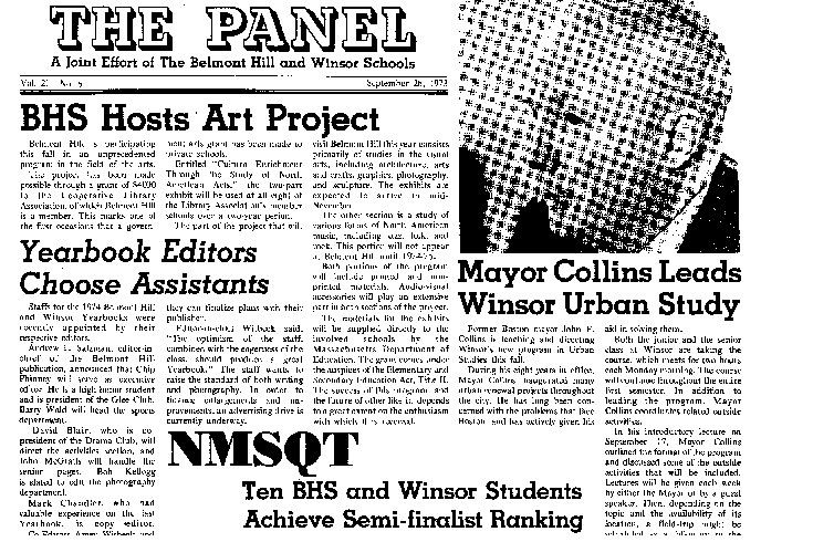 "The first issue of the joint Winsor-Belmont Hill newspaper, ""The Panel"" is published.  In 2019, Winsor students rename the paper ""The Banner""."