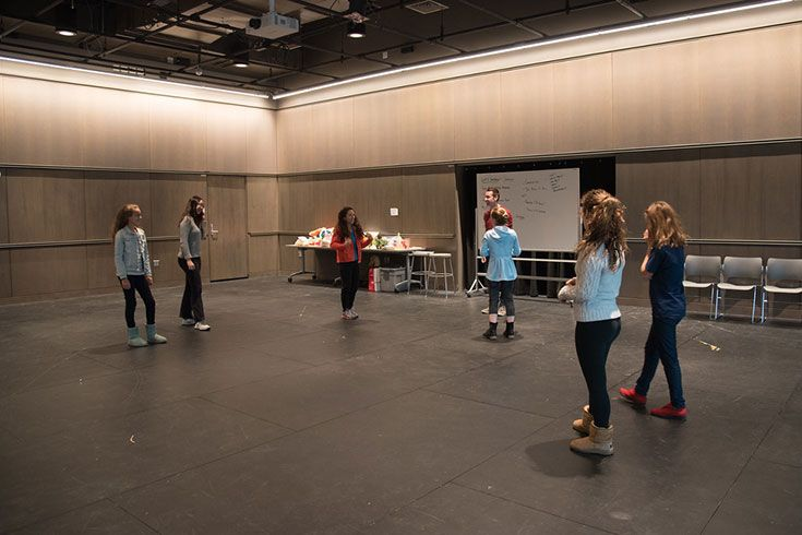 This 1630 square foot room has a maple sprung floor to prevent injury and a mirrored wall. The studio serves as a site for numerous student activities, group dance practices, workshops, and rehearsals.