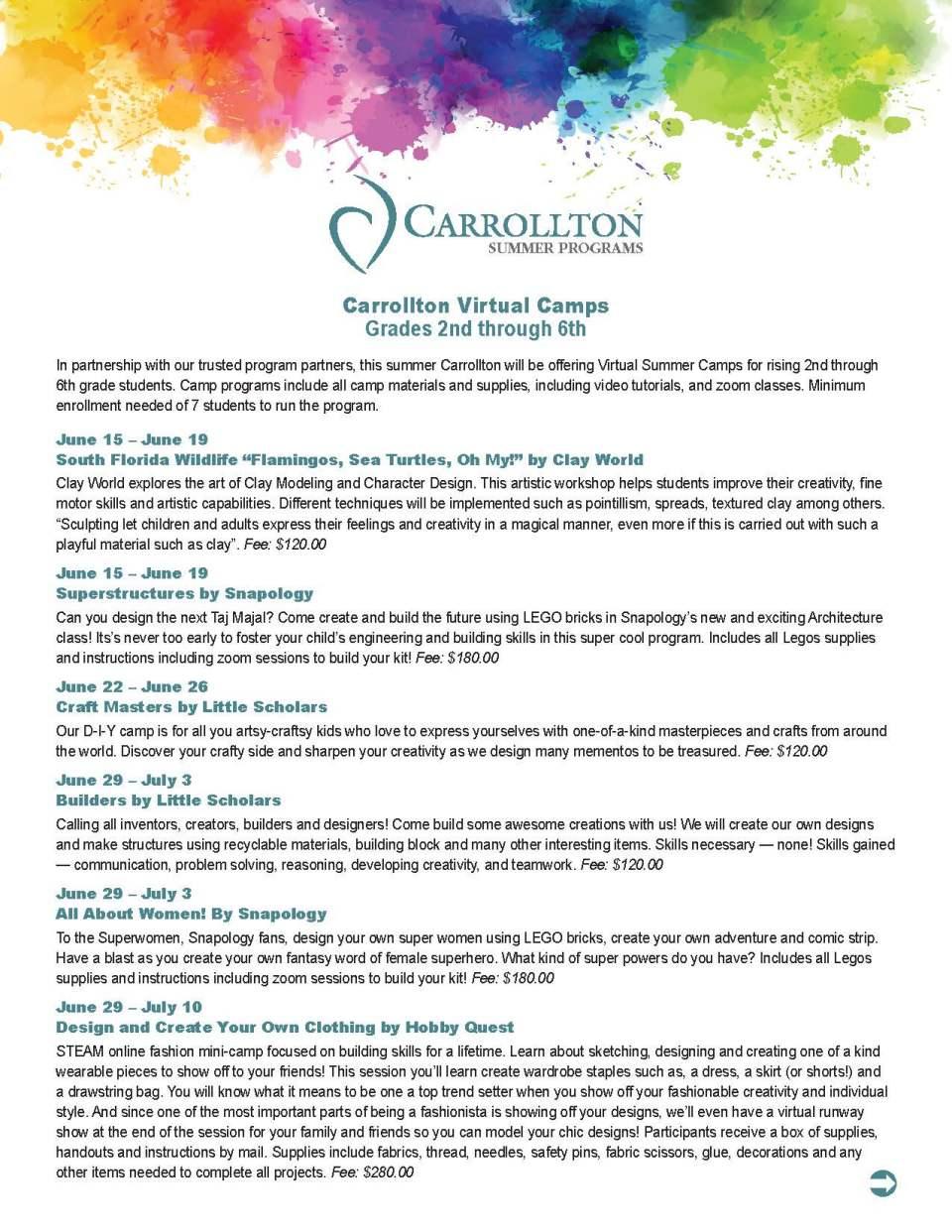 Carrollton Virtual Camps Grades 2nd through 6th