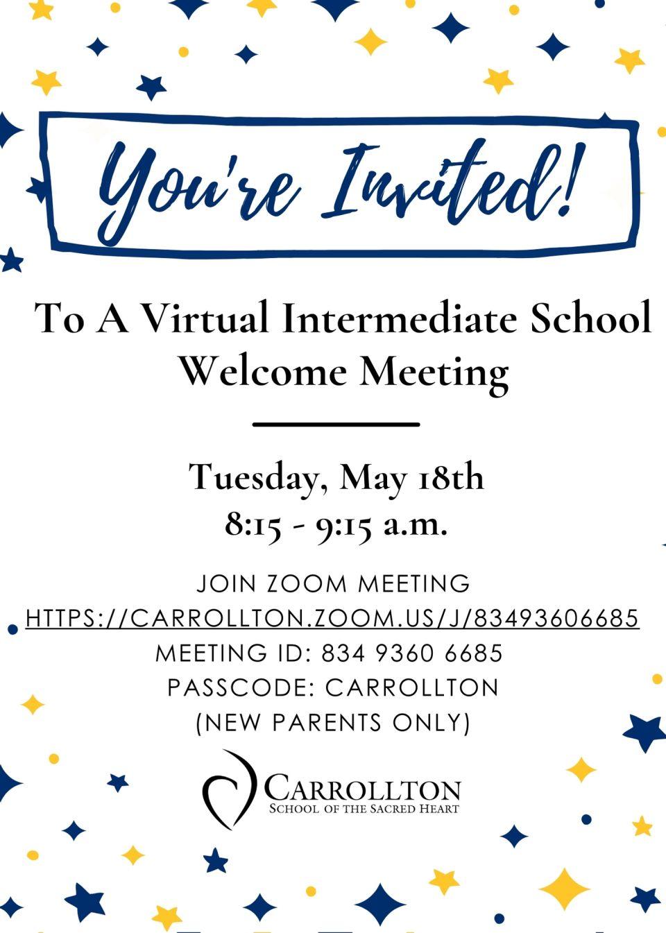 Intermediate New Parent Meeting Invite