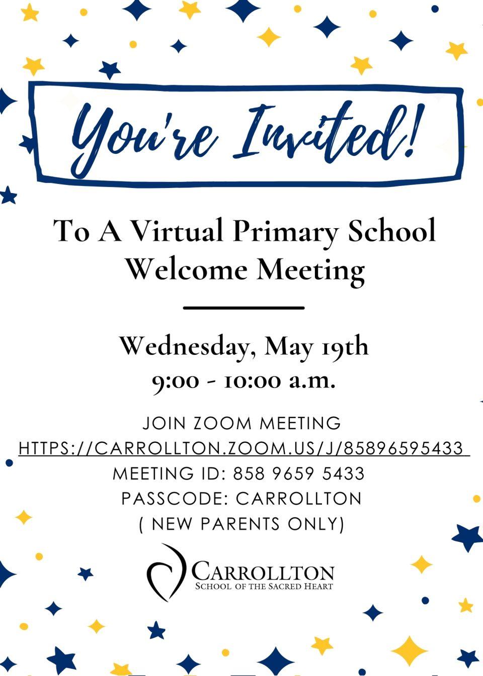 Primary New Parent Meeting Invite