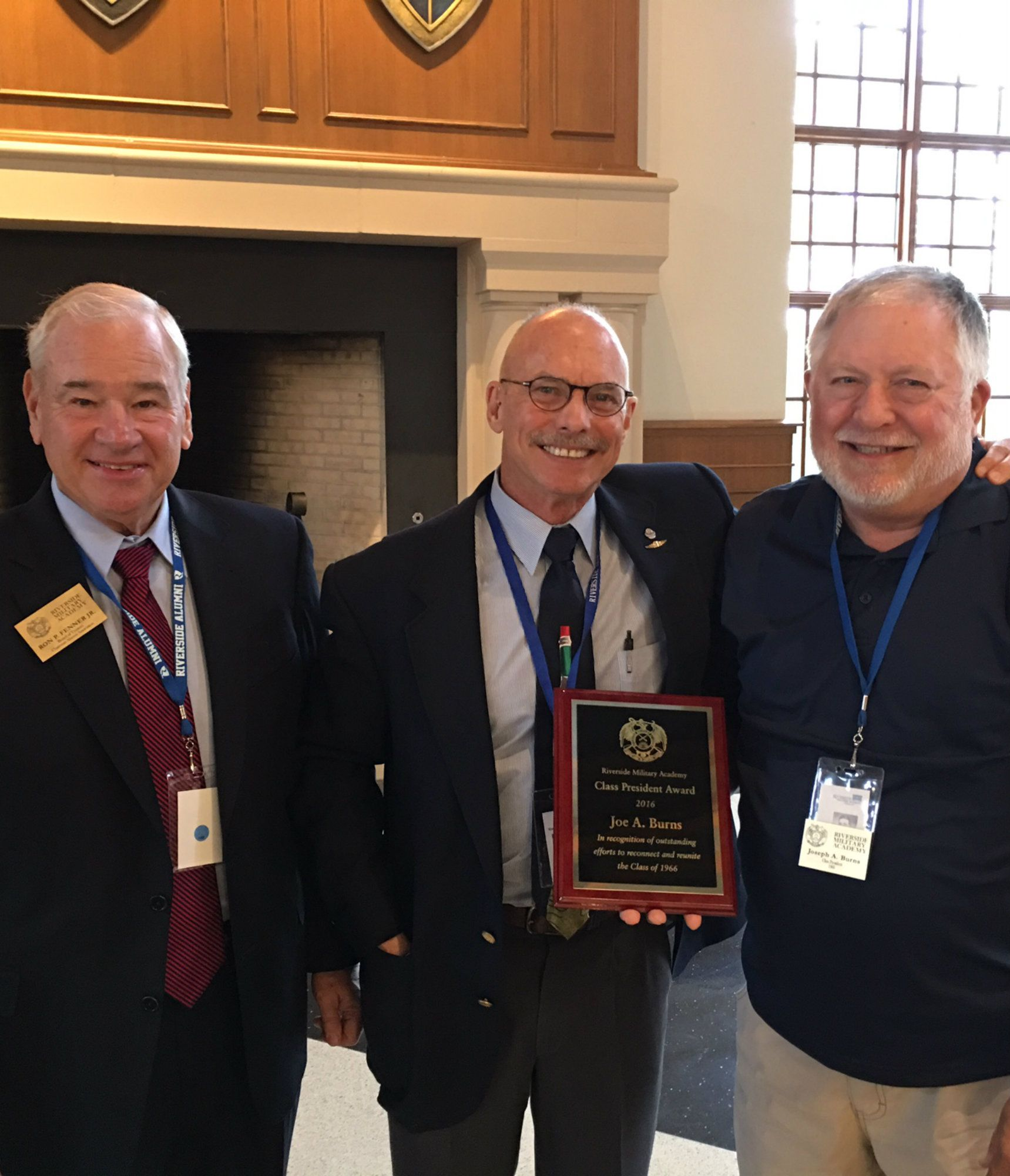 Ron Fenner '66, left;  John Delcambre '66, center, chairman of the Class President program, and Joe Burns '66, president of the class of 1966, who was honored at Homecoming 2016 for getting the most classmates on campus with the highest giving participation rate.