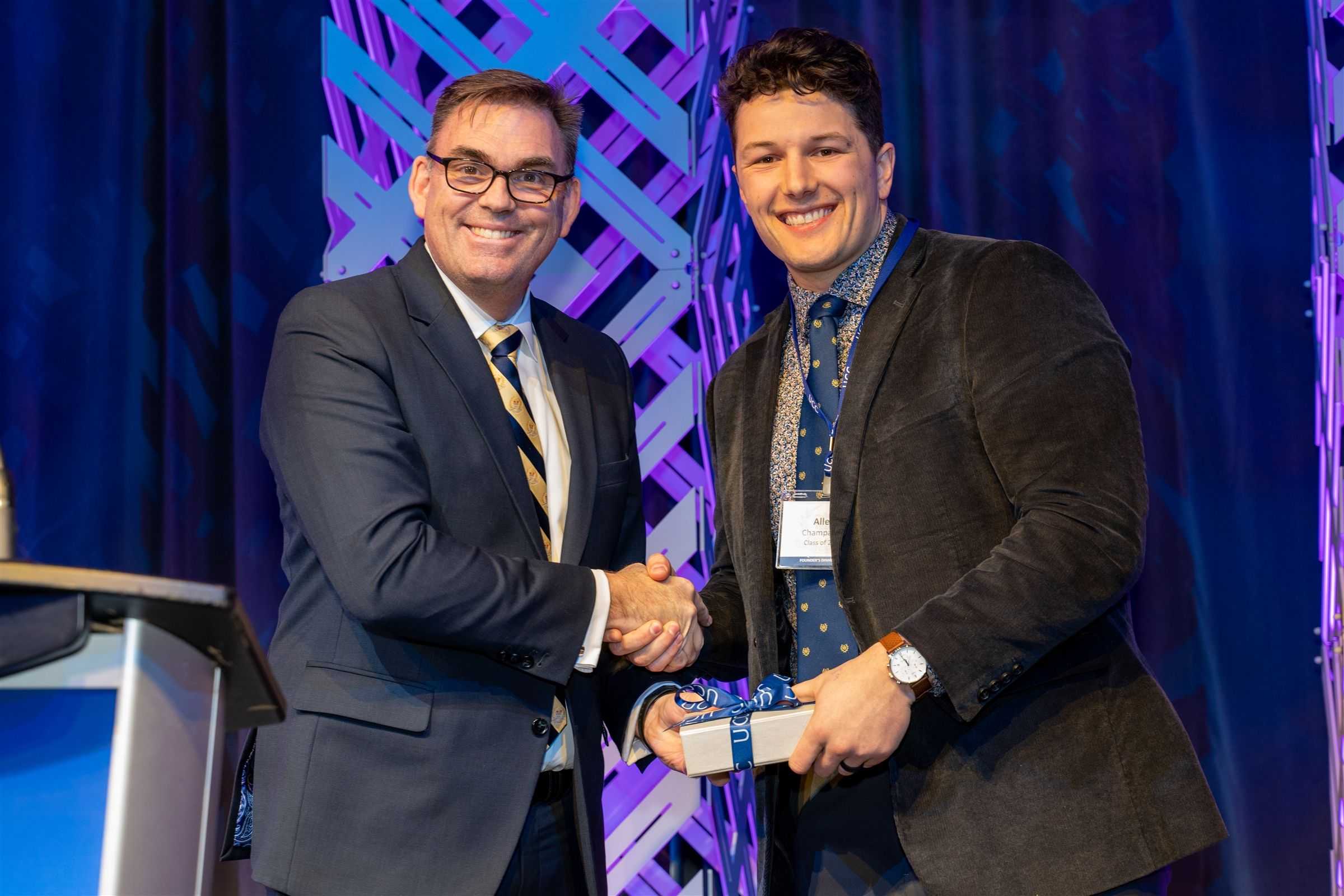 Allen Champagne '11 received the Young Old Boy of Distinction Award at Founder's Dinner in February 2020.