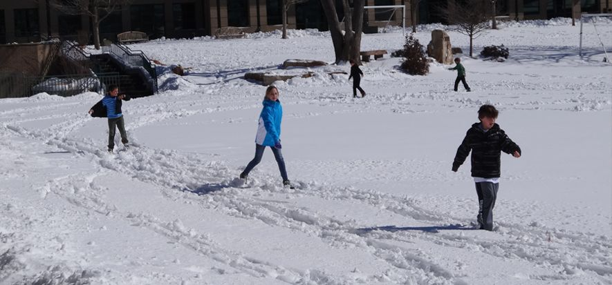 Our campus is a hub for activities of all kinds. When the weather cooperates, students don cross country skis to glide around our open field. In our fully equipped gymnasium, you might see kids on the climbing wall, shooting hoops or lifting weights.