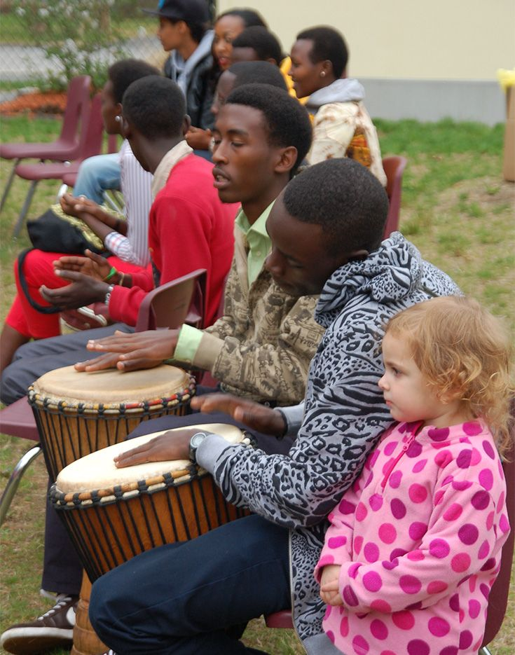 Students from the Agahozo-Shalom Youth Village in Rwanda visited the OCMS campus in 2014, teaching our students cultural songs, drumming, and engaging in friendship exchange.