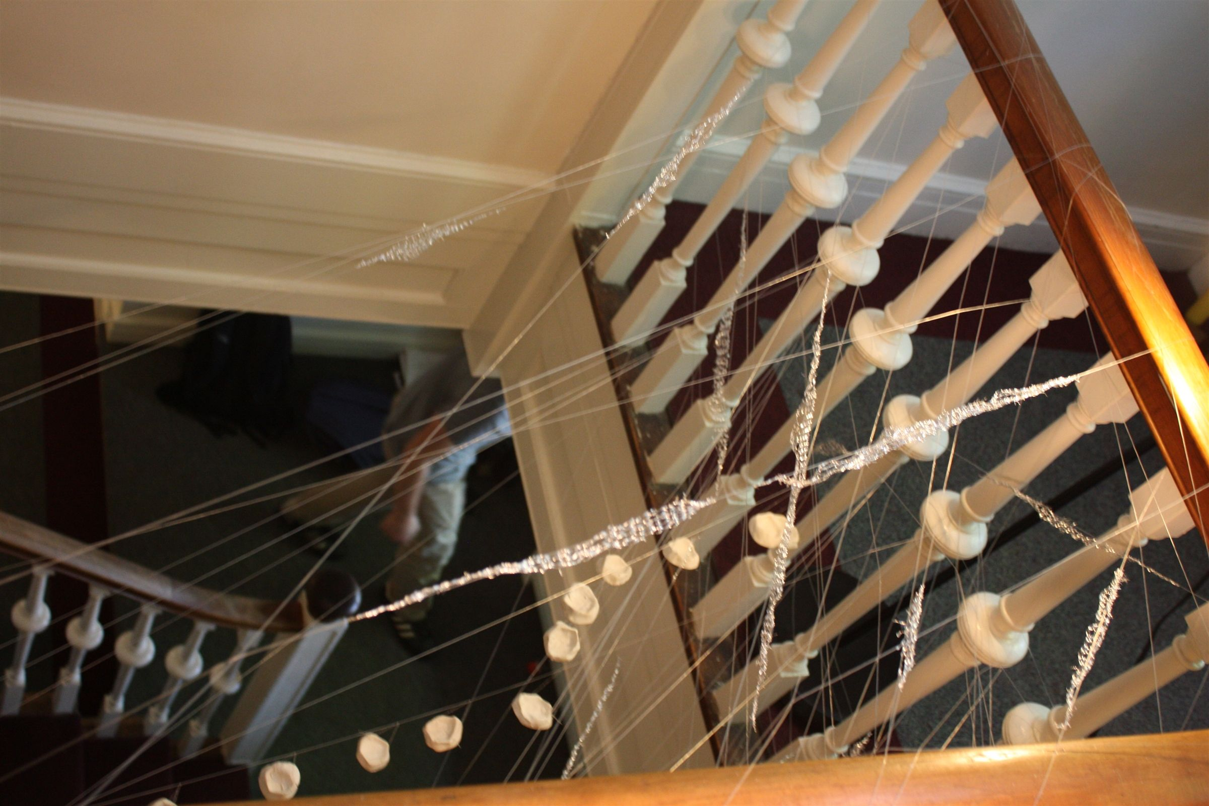 Leah created a mobile in an open dorm stairwell to portray the movement and beauty of a suspension bridge.