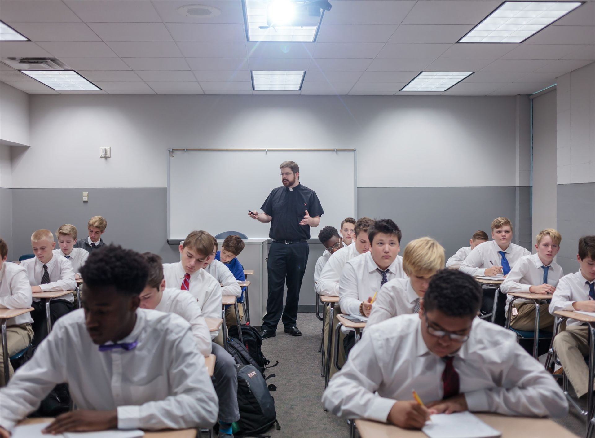 Students in class at Rockhurst High School in Kansas City