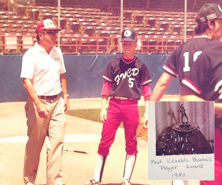 Chip pitching in Ranger Stadium with Coach Bob Minnerly, 1980