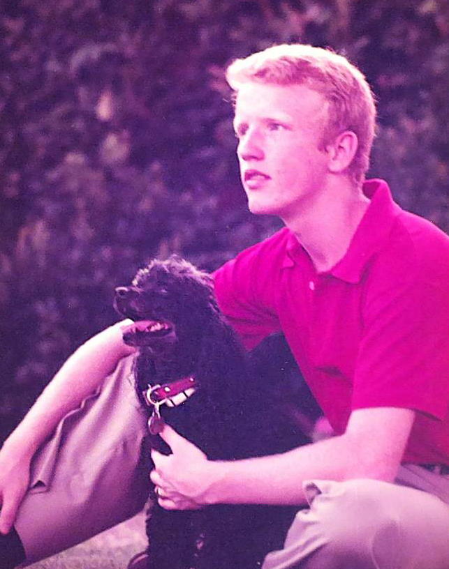 FWCD Senior picture with family dog, Black Alice, 1980