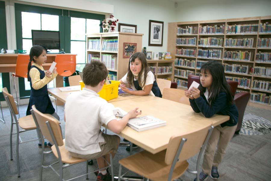 Students have quiet time to research, learn, and read in the library.