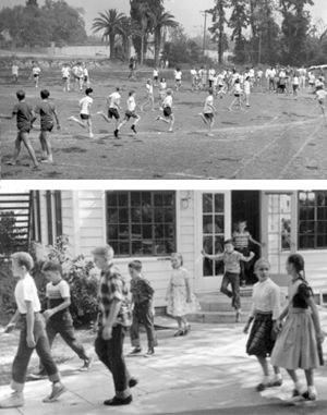 Student exit a classroom in the 1950s. Clairbourn's field was built in the early 1960s and replaced an orange grove.