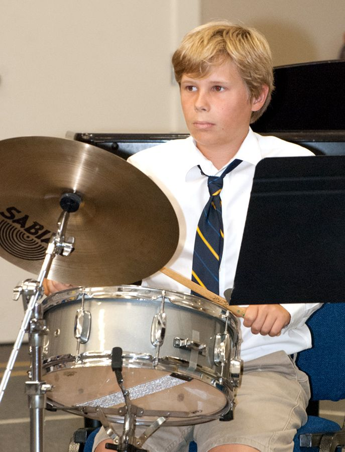 A wide array of percussion instruments are available to interested students.