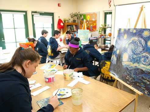Art history instruction is incorporated into art lessons to provide students with inspiration and context.