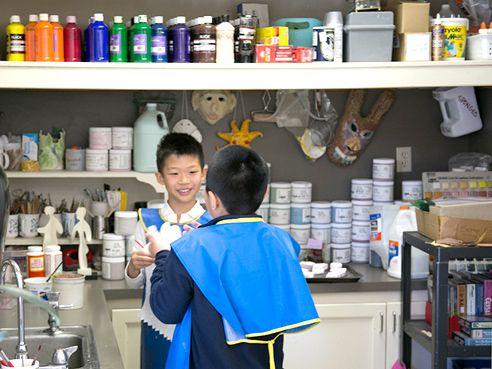 The Art Room is well-supplied with paints, drawing materials, and other artistic supplies.
