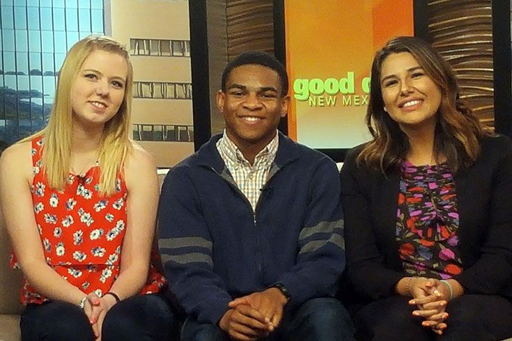 Caitlyn May '14 and Daniel Ohiri '16 visit with Constance Lumumba-Perez on KOB's Good Day New Mexico