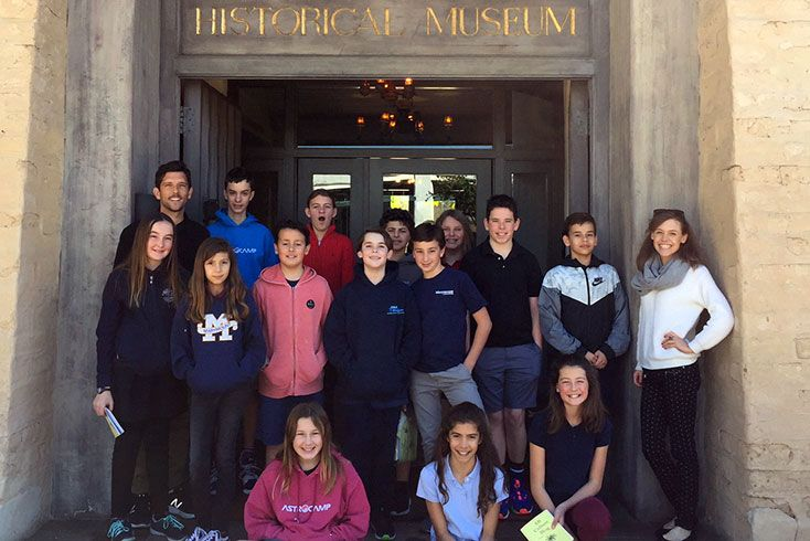 Group of students in front of the Santa Barbara Historical Museum