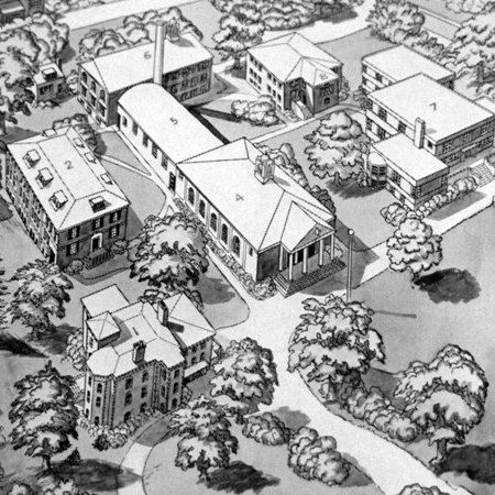 An aerial view shows the campus in the 1930s.