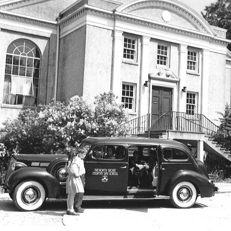 <p align=left>The first North Shore Country Day School bus was a converted four-door Packard, circa 1939.</p>