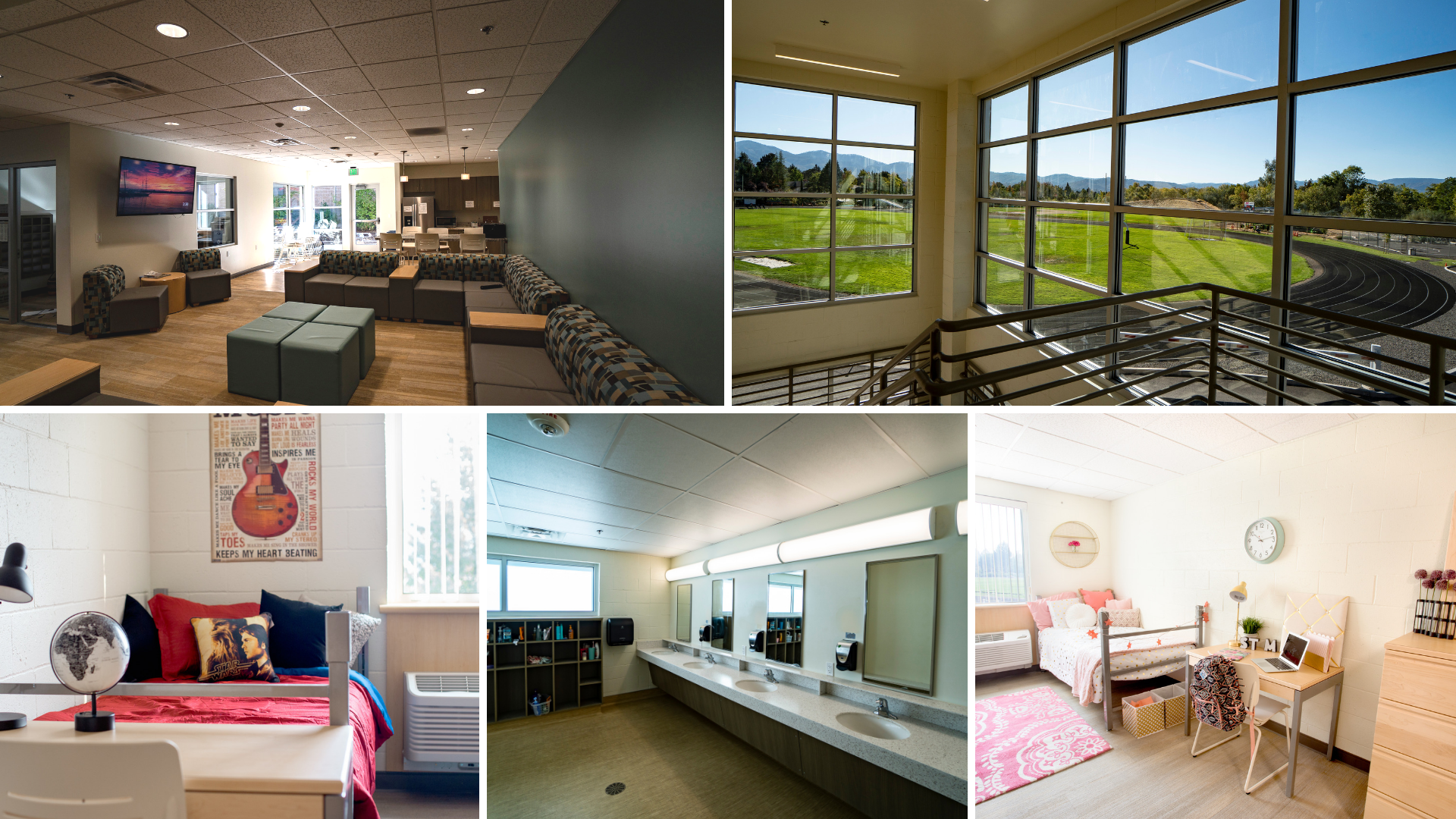 Collage of interior shots of the dormitory