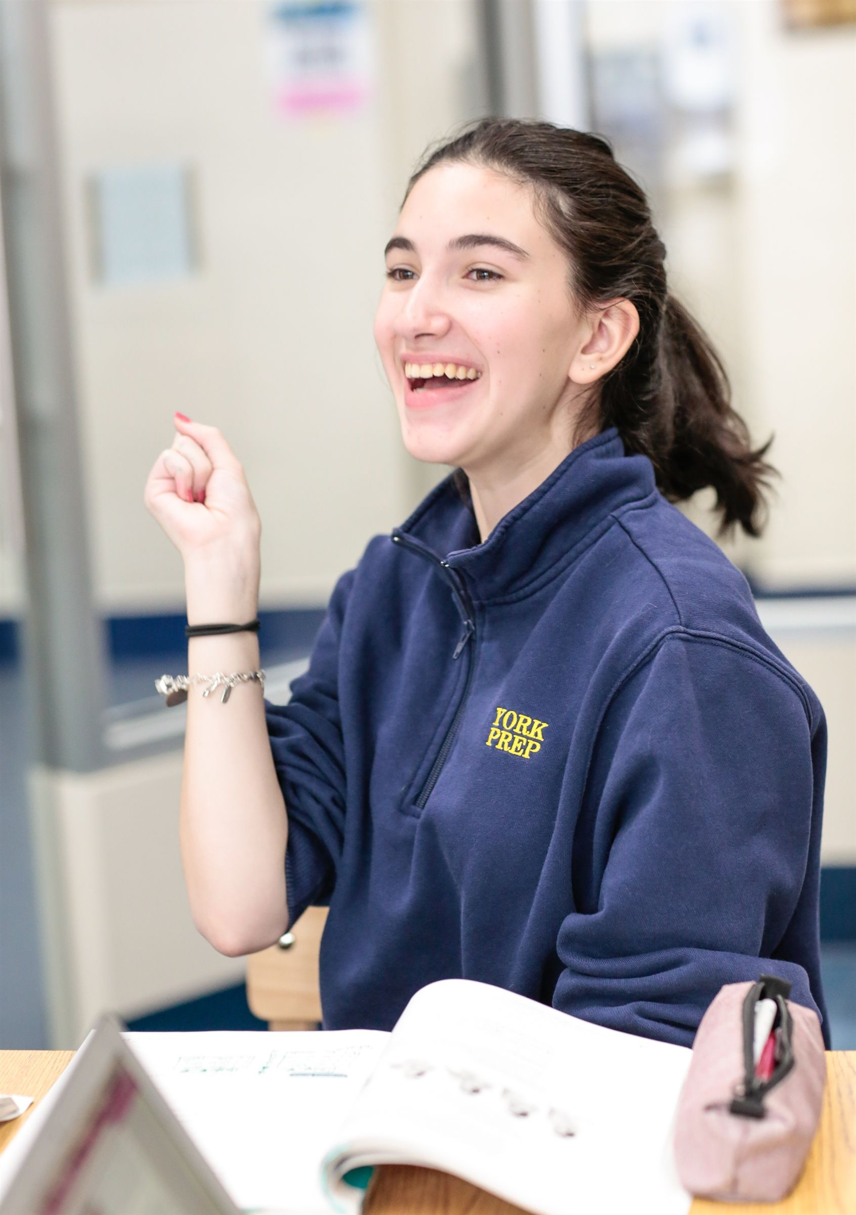 York Prep high school student in American Sign Language class
