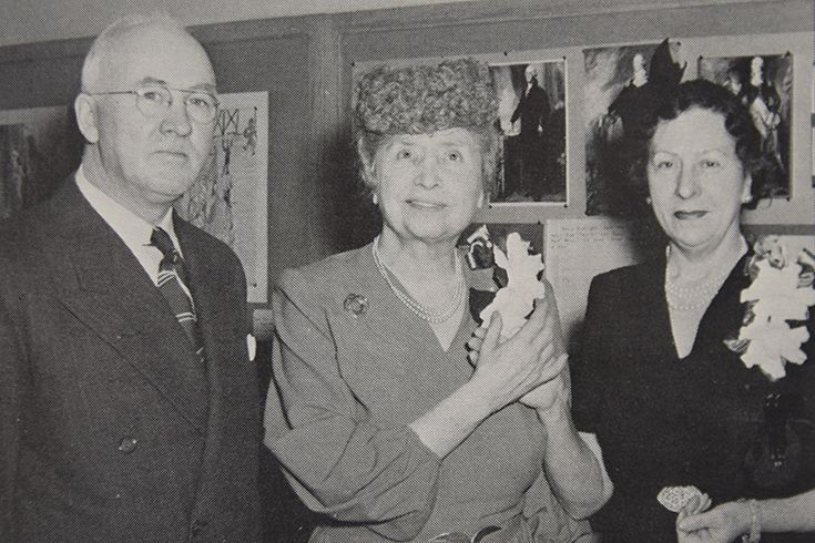 1960 - Helen Keller (center) visiting Lexington with Superintendent Dr. Leo O'Connor and interpreter Polly Thompson